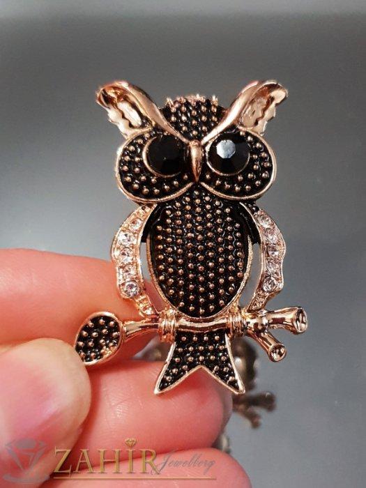 Дамски бижута - Фино изработен златисто черна сова на брошка 4 см с бели кристали и златно покритие - B1107