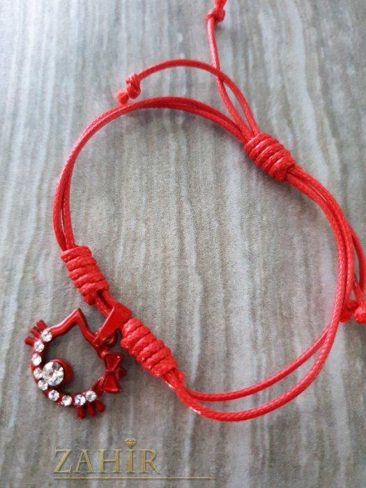 Разпродажба - Червено коте с кристали на червена регулираща се гривна от ваксова корда - E1018