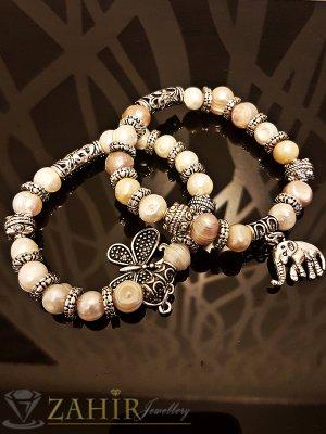 Двойна ластична гривна 18 см с естествени речни перли, висулка пеперуда и слон - G1949