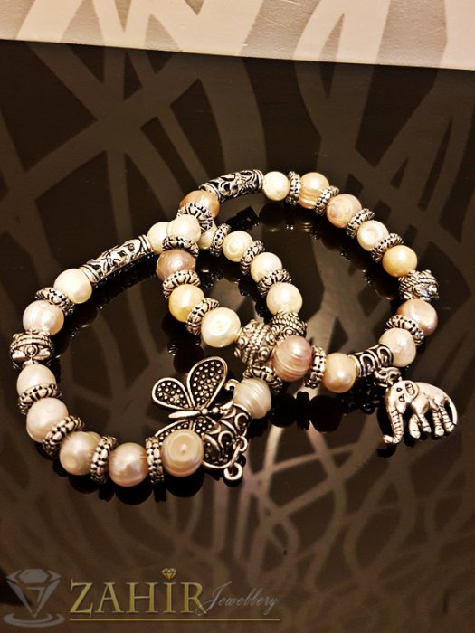 Дамски бижута - Двойна ластична гривна 18 см с естествени речни перли, висулка пеперуда и слон - G1949