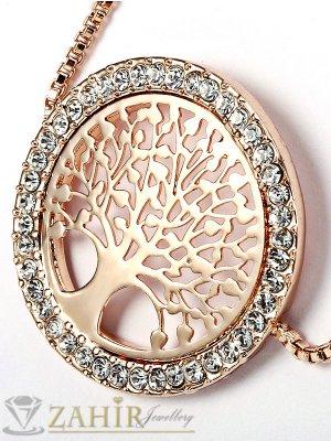 Великолепна регулираща се позлатена гривна Дървото на живота 2,5 см с кристали - G1951