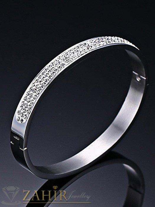 Висококачествена стоманена гривна тип бенгъл с кристал, диаметър 6,5 см - G1952