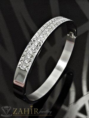 Непроменяща цвета си стоманена гривна, стандартна ширина, инкрустирана с бели кристали - G1956