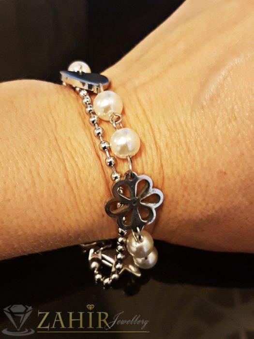 Двойна стоманена гривна 17 + 3 см с перли, непроменяща цвета си - G1969