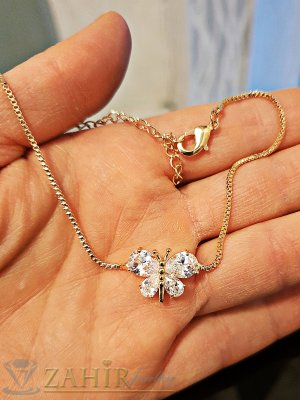 Великолепна кристална пеперуда на нежна позлатена гривна за ръка или крак, дълга 19 + 7 см - G1970