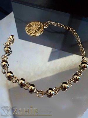 Позлатена стоманена гривна с метални топчета и висулка Богородица, дълга 19 см - G1987