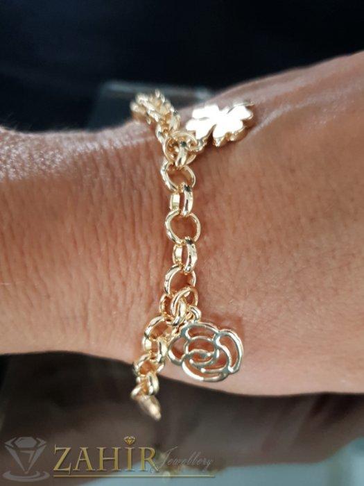 Дамски бижута - Романтична гривна с 4 висулки, златно покритие, дълга 15 + 6 см удължител - G1993