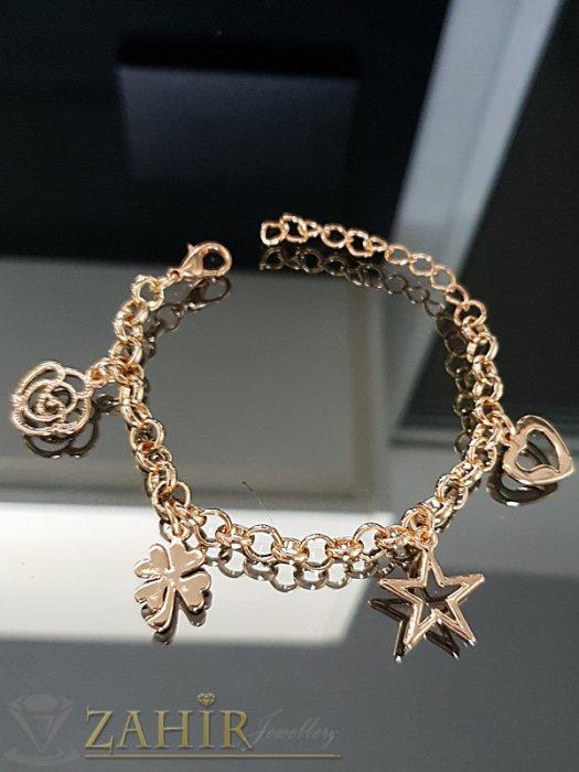 Романтична гривна с 4 висулки, златно покритие, дълга 15 + 6 см удължител - G1993