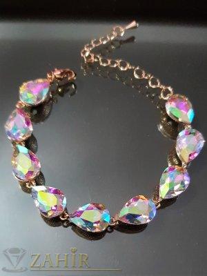 Позлатена гривна с хамелеон кристали във формата на капки, регулираща дължина - G2013