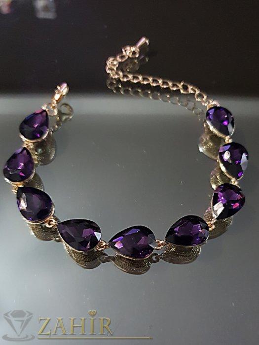 Виолетова кристална официална позлатена гривна, регулираща се дължина - G2015