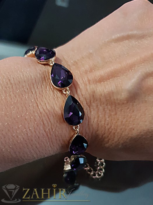 Дамски бижута - Виолетова кристална официална позлатена гривна, регулираща се дължина - G2015