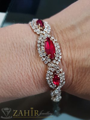 Официална гривна  с червени  и бели кристали, златно покритие, регулираща се дължина - G2018