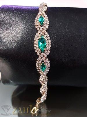Официална гривна със зелени и бели кристали, златно покритие, регулираща се дължина - G2019