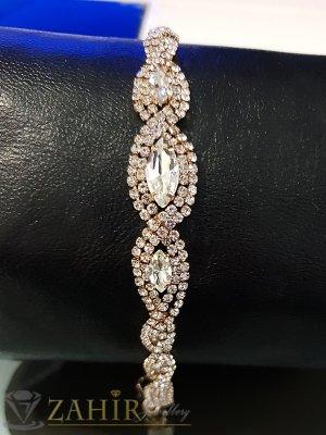 Официална гривна с прозрачни бели кристали, златно покритие, регулираща се дължина - G2022