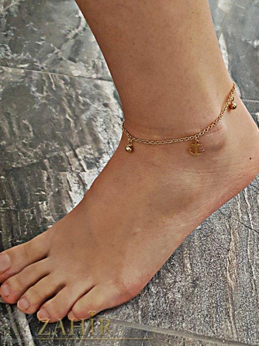 Стоманена гривна за крак 23 + 5 см с висулки котви, златно покритие - GK1064