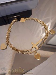 Двойна гривна за крак със сърца и кръст от стомана със златно покритие, дълга 24 см - GK1074
