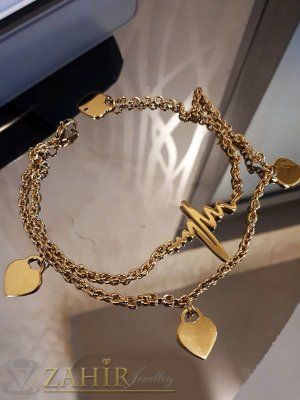 Двойна гривна за крак със сърца и сърдечен ритъм от стомана със златно покритие, дълга 24 см - GK1076