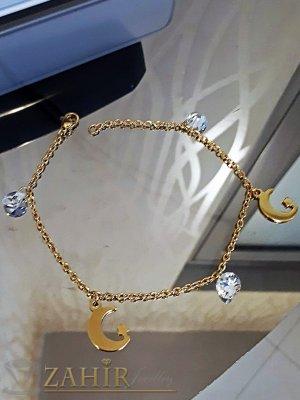 Позлатена стоманена гривна за крак с висулка кристали и полумесеци, дълга 24 см - GK1078