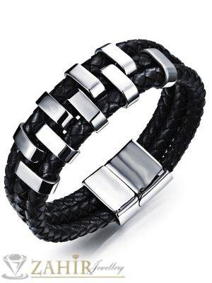 Тройна черна естествена кожена гривна със стоманени елементи и закопчалка, дълга 22 см, широка 2 см - GS1249
