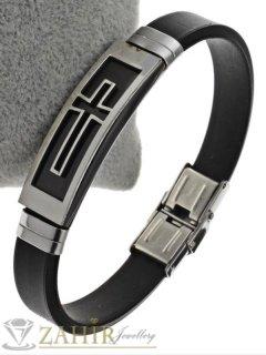 Черна силиконова гривна 20 см, широка 1 см със стоманена плочка 5 см с гравирана плочка с кръст - GS1259