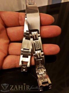 Непроменяща цвета си гравирана стоманена гривна 22 см с плочка 4 см, широка 1,3 см - GS1261