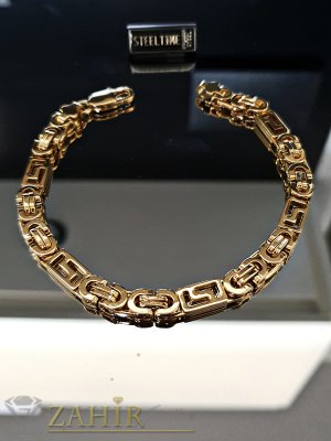 Позлатена стоманена гривна с римски елементи дълга 22 см, широка 0,6 см - GS1285