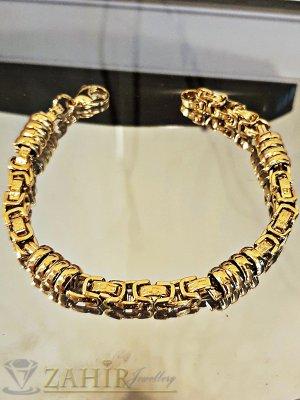 Великолепна плетена гривна 22 см от позлатена стомана с гравирани римски елементи, широка 0,8 см - GS1299