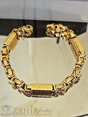 Великолепна гривна с гравирани римски плочки от позлатена стомана, дълга 22 см, широка 0,6 см - GS1300
