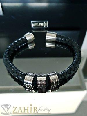 Класическа черна кожена плетена гривна 22 см със стоманени елементи и магнитна закопчалка - GS1301