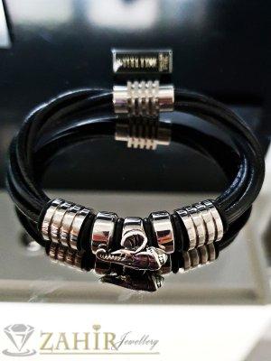 Класическа черна кожена плетена гривна 21 см със стоманени елементи и магнитна закопчалка - GS1302