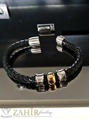 Класическа черна кожена плетена гривна 21,5 см със стоманени елементи и магнитна закопчалка - GS1303