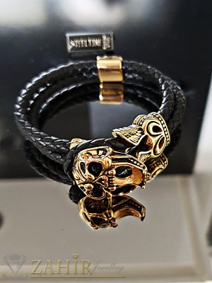 Двойна черна кожена гривна с великолепен гравиран 3D череп, дълга 21 см - GS1304