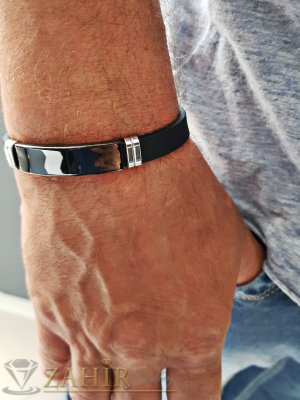 Черна емайлирана стоманена плочка 4 см на черна гривна от силикон 21 см - GS1313