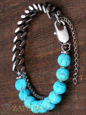 Двойна гривна от стомана и сини камъни тюркоаз 8 мм, налична в 3 размера - GS1321