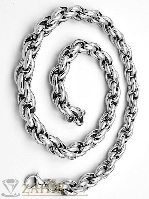 Бижута за мъже - Стоманена гривна с византийска плетка 22 см, широка 0,7 см, високо качество - GS1335