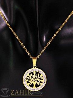 Нежна стоманена висулка Дървото на живота 2 см на тънък ланец 45 см, златно покритие - K1762