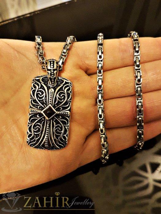 Висококачествен стоманен гравиран медальон с кръст 4 см на стоманен ланец 54 см, римска плетка - K1768