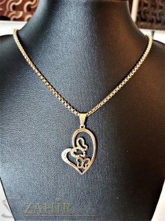 Стоманена позлатена висулка сърце 3 см на стилен стоманен ланец 45 см - K1773