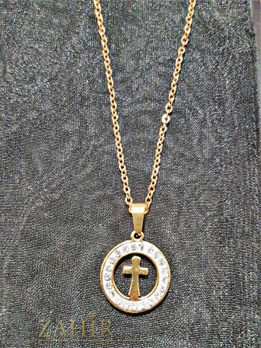 Кристален стоманен медальон 2 см с кръст на тънък стоманен ланец 50 см - K1782