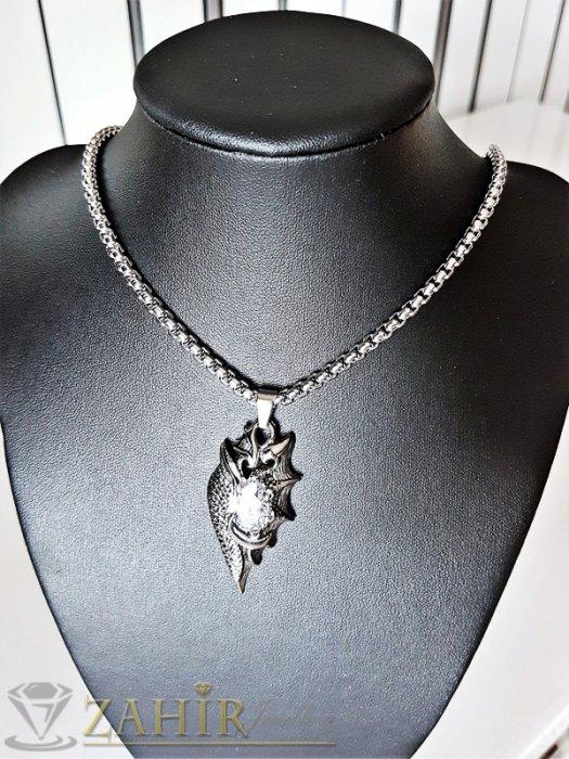 Кристален стоманен медальон 5 см с 5 различни кристала на дълъг 60 см стоманен ланец - K1784