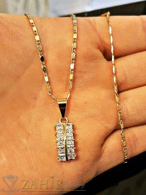 Великолепна кристална висулка с инкрустирани кристали 1,5 см на позлатен ланец 42 см - K1796