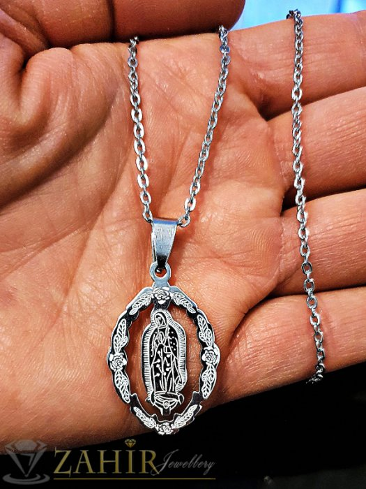 Изящно изработена гравирана с висококачество висулка Богородица 3 см, на ланец 43 см - K1801