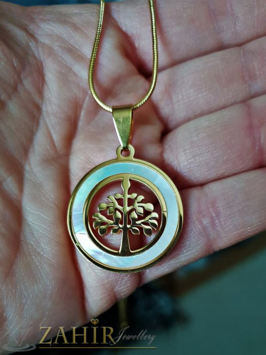 Дамски бижута - Красив седефен медальон с Дървото на живота 2,5 см на класически ланец 48 см - K1805