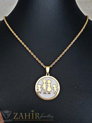 Красив седефен стоманен медальон 2,7 см ''Семейство'' на изящен ланец 48 см - K1807