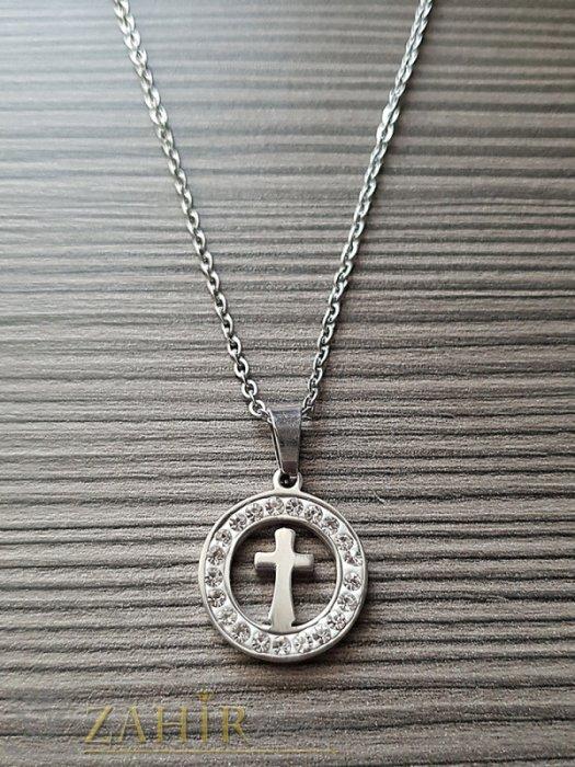 Дамски бижута - Класически стоманен медальон с кръст 1, 7 см на класически стоманен ланец 50 см - K1810