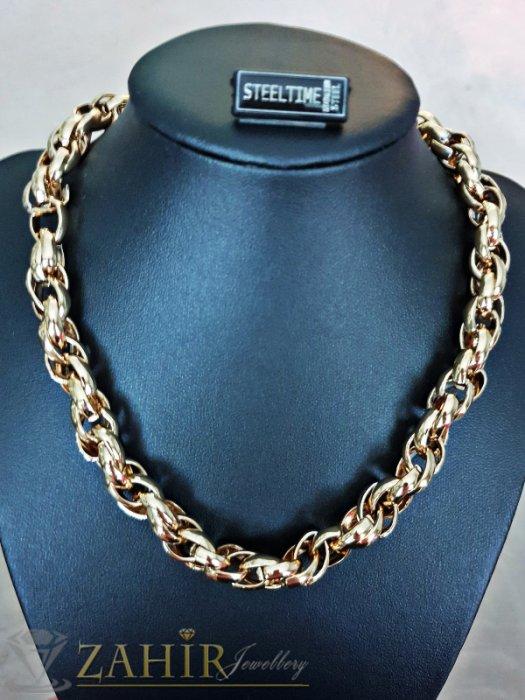 Великолепен стоманен позлатен ланец изящна плетка,  3 размера -45, 50, 55 см, широк 1 см - K1814
