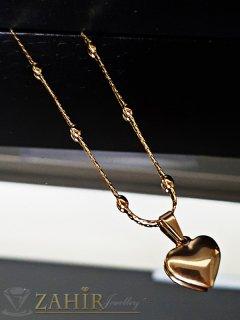Нежно позлатено стоманено сърце 1,5 см на красив стоманен ланец 52 см  - K1819