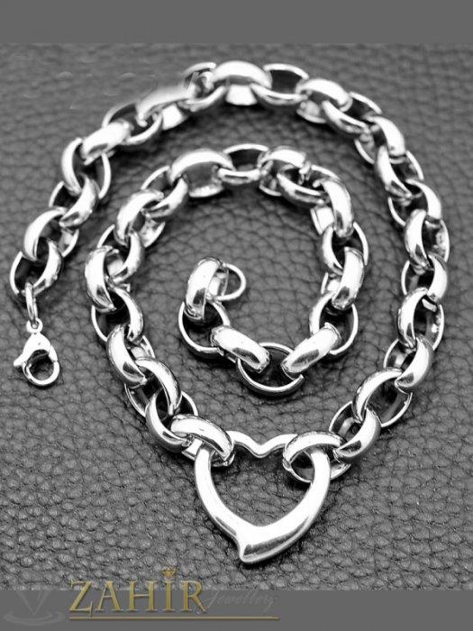 Висококачествен стоманен ланец 45 см с висулка сърце, широк 1 см - K1824