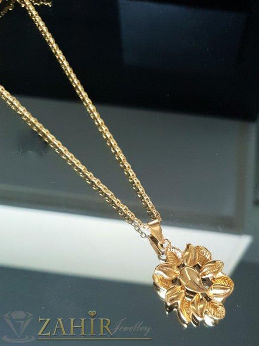 Изящно гравирано позлатено стоманено цвете 3,5 см на ланец в 3 размера - K1833