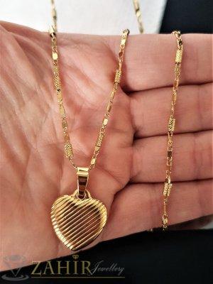 Нежно гравирано сърце от стомана 1,8 см на колие 52 см  - K1835
